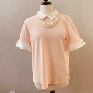 KARL LAGERFELDT pink collared pearl necklace top
